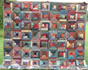 Double Quilt - Plaid Log Cabin Full Sized Bed Quilt