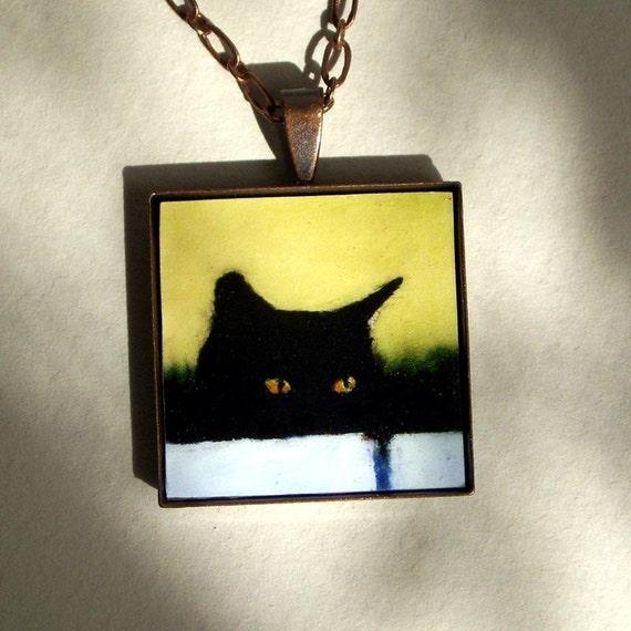 Black Cat Necklace - art pendant