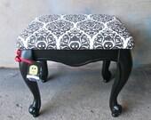 The Ely - Vintage flat black stool with black and white skull damask cushion