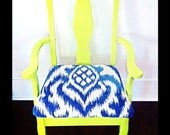 The Londoner - REdesigned vintage armed accent chair.  Fluorescent green with blue and white fabric.