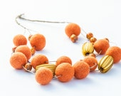 Chunky Orange Beaded Necklace Summer Felted Jewelry