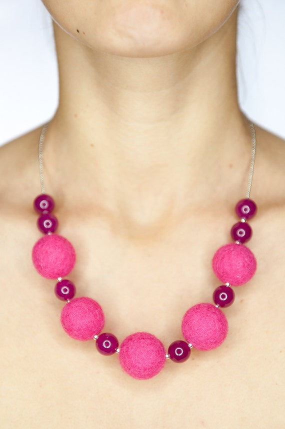 Felted necklace / beaded pink felt with milky crystal