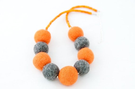 Beaded Felted necklace Chunky Grey and Orange Autumn Felt Jewelry