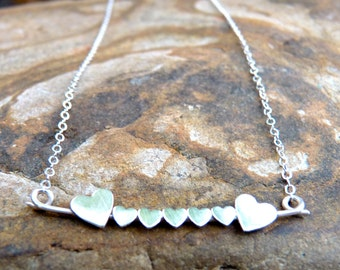 Family of Seven, Sterling Silver or 14kgf Heart Necklace