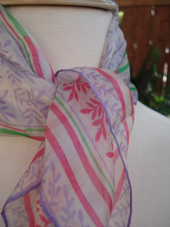 1950s Royal Lady Silks Sheer Purple, Pink & Green Leaf Pattern Silk Scarf / Square 16 x 16