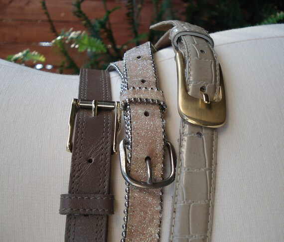 Belt Bunch / Leather Mocha, Glitter & Faux Crocodile / 3 Skinny Belts / Small - Medium// Black Friday SALE // Cyber Monday SALE