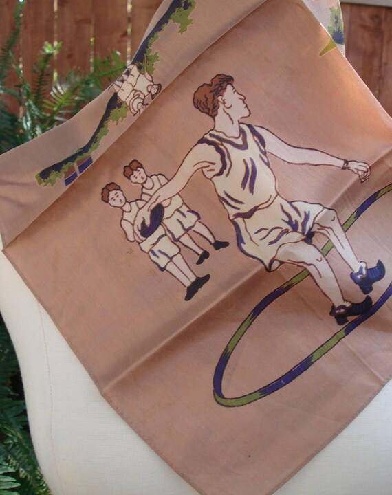 The Discus Thrower - Bronze, Purple, Green Hand Silk Screen Scarf / Square 17 x 17