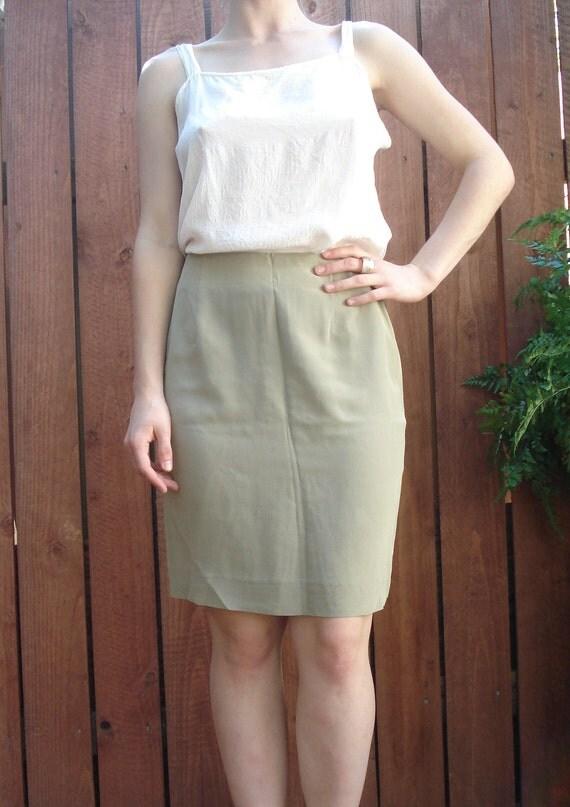 1990s Sage Green Silk Chiffon High Waist Pencil Skirt / Women's Size Small 4