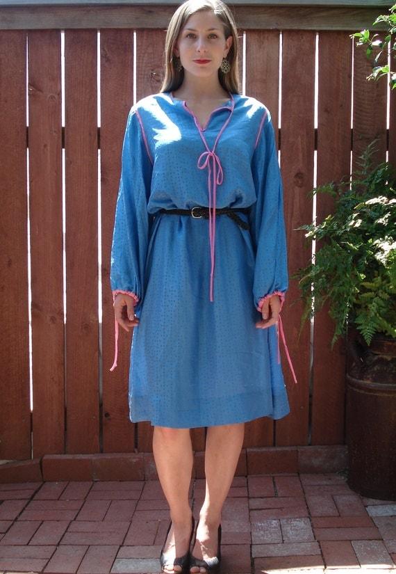 1980s Sky Blue Oversized Silk Dress / Tunic  w Baby Pink Trim / Women's Size Large