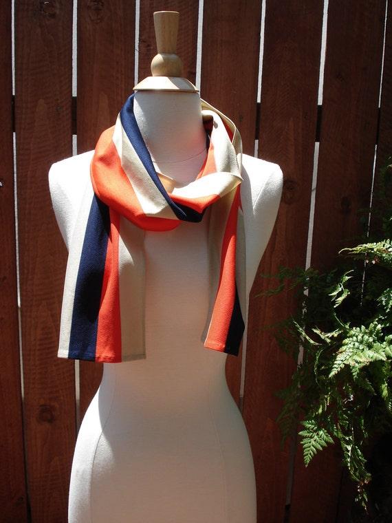 Vintage Neon Orange, Navy, Tan Bold Stripes / Colorblock Scarf / Long Scarf 61 x 8