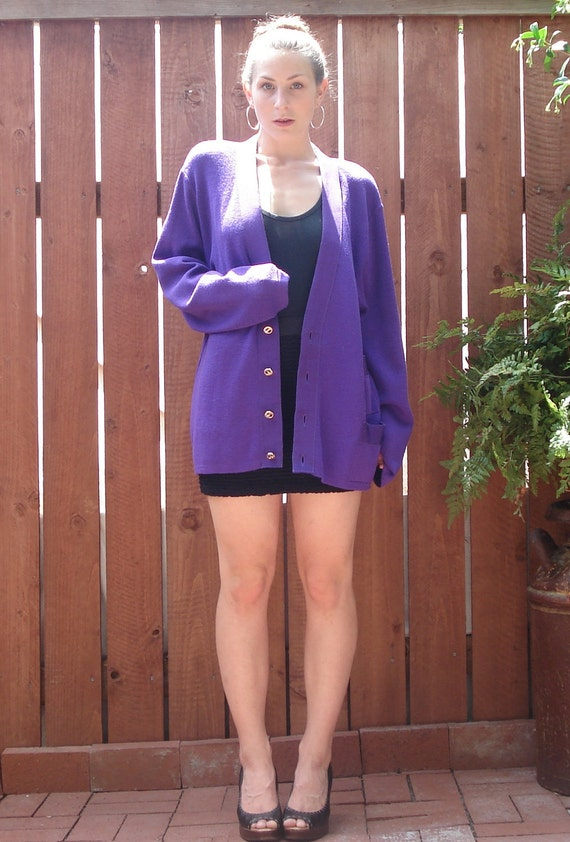 1980s Salvatore Ferragamo for I.Magnin Purple Wool / Ribbon Trim Cardigan Sweater NWT / Women's Size XL
