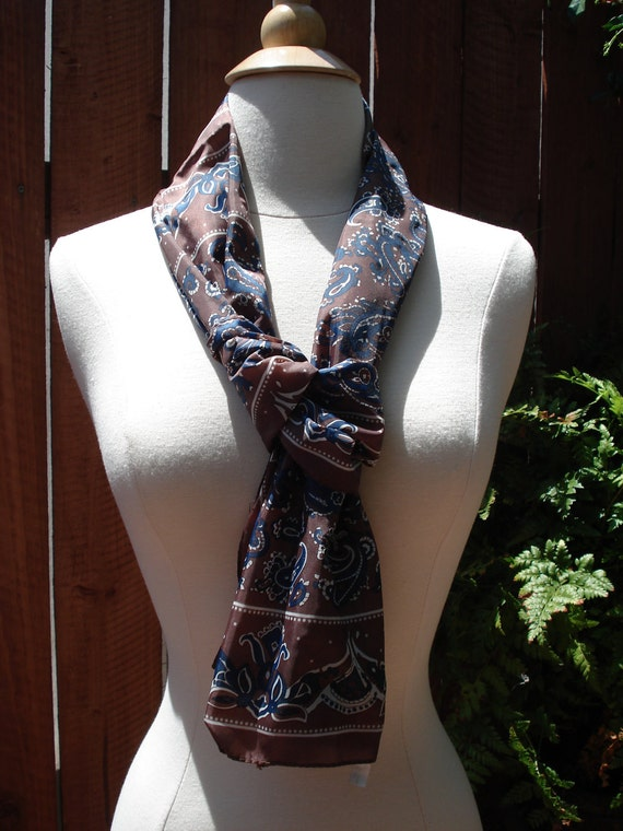 Brown, Navy & White Paisley Print Satin Scarf / Long Scarf 52 x 12