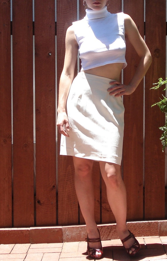 Vintage Ivory White Textured High Waist Pencil Skirt - Womens Size 4 / Small