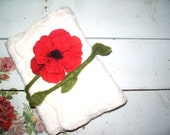 Felted notebook covers with poppy Made to order