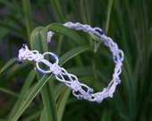 Handmade, Off White Natural Hemp Choker with Gradient Blue Glass Beads