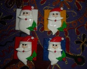 Christmas Santa/Father Christmas Card Topper or decoration. polymer clay. set of four