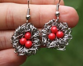 Bird Nest Earrings, Wire Work- by Rare Tee