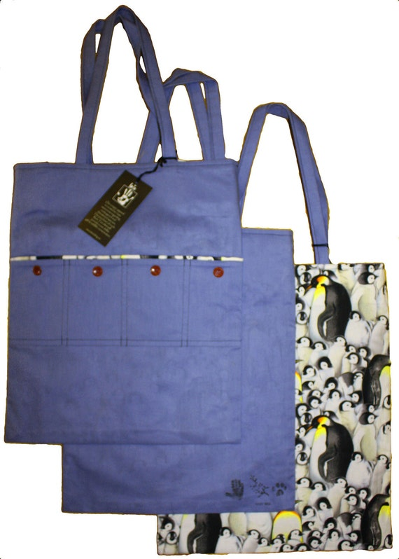 Blue Penguin Tote Bag: Reversable- by Rare Tee