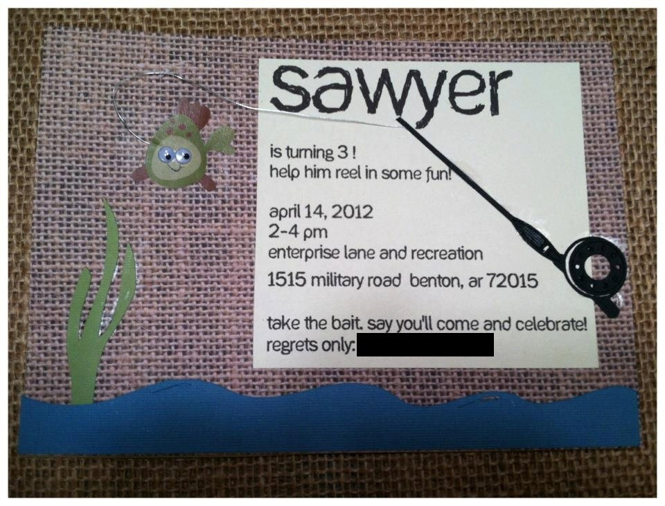 Personalized fishing theme birthday invitations for Fishing birthday party invitations