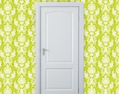 "Removable Wallpaper - ""Damask Me For Crystal"" in Lime - 2 ft. wide x 10 ft. long"