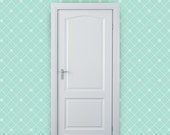 """Removable Wallpaper - """"These Diamonds Sparkle"""" in White on Mint - 2 ft. wide x 10 ft. long"""