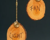 ceiling fan pull chain, lamp pull, Wooden disc, etched, with brass chain for your ceiling fan/light. 50