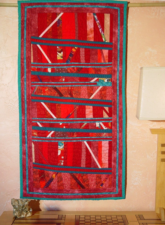 """Sale 50% off - Art Quilt Wallhanging """"Dancing in Red Shoes"""" of cotton"""