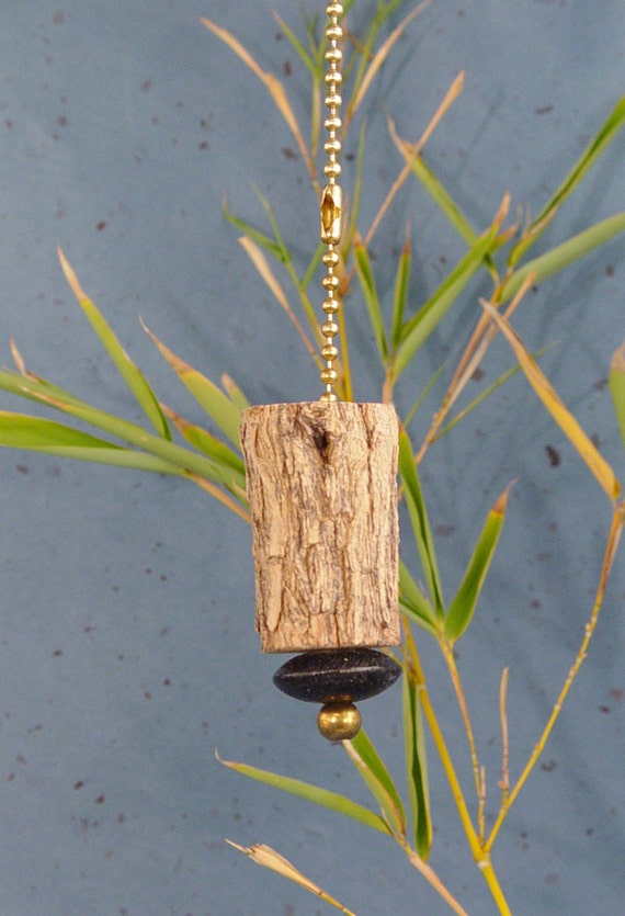 ceiling fan pull chain, lamp pull, tree branch with black wood bead and brass bead. 15