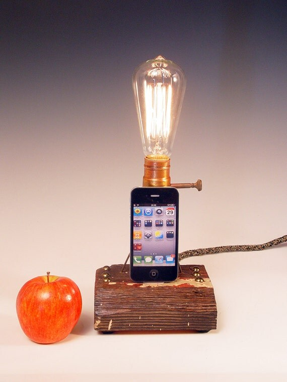 iPhone dock AND table lamp. Recycled wood. Copper. Steam punk. Industrial. 168