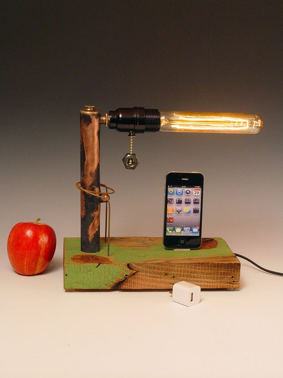 iPod, iPhone dock AND table lamp. iPhone 3, 4, 5. Recycled wood & copper pipes. Steampunk, Industrial, Edison bulb. USB wall charger. 210