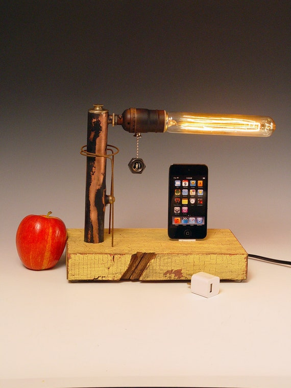 iPhone, iPod dock AND table lamp. iPhone 3, 4, 5. Recycled wood & copper pipes. Steampunk, Industrial, Edison bulb. USB wall charger. 211