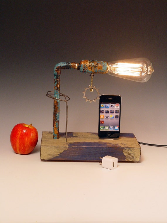 iPhone dock AND table lamp. Recycled wood. Copper. Edison bulb. 3 way light with one way bulb. 212