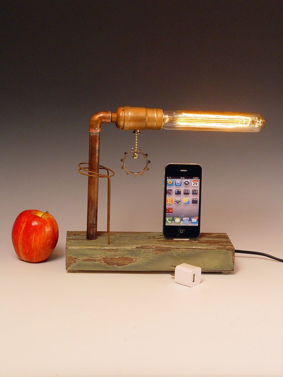 iPhone dock AND table lamp. Recycled wood. Copper. Edison bulb. 3 way light with one way bulb. 213