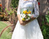 Summer SALE - 1960s Vintage Ballerina Wedding Dress Tea Length 3/4 Sleeve
