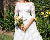 HOLIDAY SALE - 1950s Vintage Bright White Lace Wedding Dress with 3/4 Sleeve