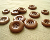 Vintage Buttons - Plastic - Toffee