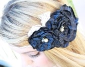 Navy Blue & White Lace Headband