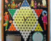 Vintage Chinese Checkers Game Board Clock Upcycled Recycled Repurposed