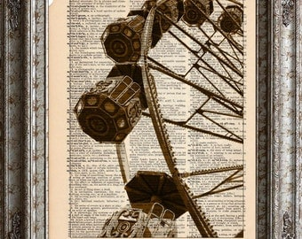 Swiss Ferris Wheel on Vintage Upcycled Dictionary Art Print Book Art Print Recycled Repurposed