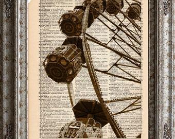 Swiss Ferris Wheel on Vintage Upcycled Dictionary Art Print Book Art Print Recycled Repurposed bookworm gift