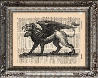 Gryphon on Vintage Upcycled Dictionary Art Print Book Art Print Recycled Mythical Monster bookworm gift