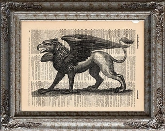 Gryphon on Vintage Upcycled Dictionary Art Print Book Art Print Recycled Mythical Monster