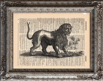 Manticore Chimera on Vintage Upcycled Dictionary Art Print Book Art Print Recycled Mythical Monster bookworm gift