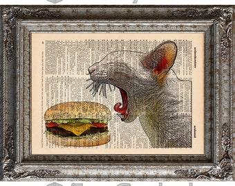 Cat with Cheeseburger on Vintage Upcycled Dictionary Art Print Book Art Print Recycled bookworm gift