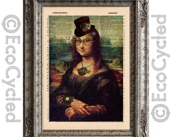 Mona Lisa Steampunk da Vinci on Vintage Upcycled Dictionary Art Print Book Art Print Recycled book lover gift upcycled book page