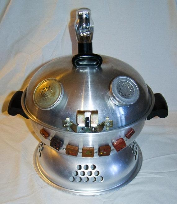 Robot Cookie Jar Upcycled Recycled Repurposed Vintage