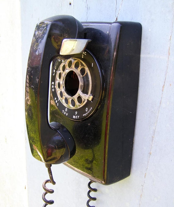 Vintage Black Wall Phone Upcycled into a Bird House - 2 - Recycled and Repurposed