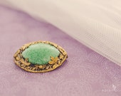 Vintage Brooch, Scarf Pin, Green Stone with Gold Tone Floral Filigree