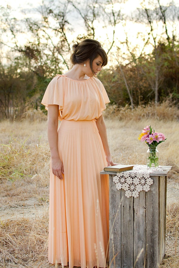 Vintage 1970s Dress, Peach Gown, Neiman Marcus, Pleated Chiffon Skirt