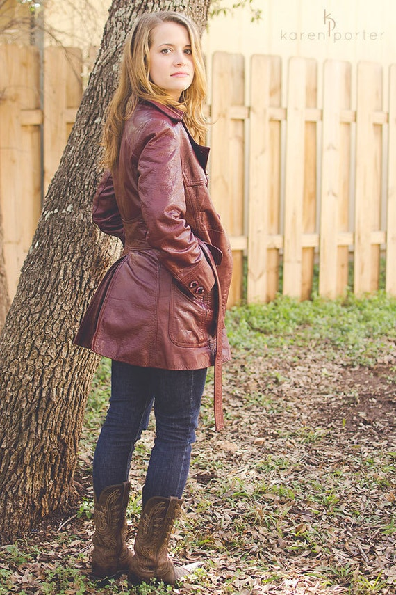 Vintage 1970s Leather Jacket, Belted Coat, Rusty Red